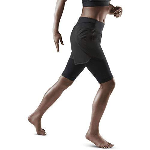 CEP – RUN 2IN1 SHORTS 3.0 für Damen   Kurze Sporthose mit Kompression in schwarz   Größe III