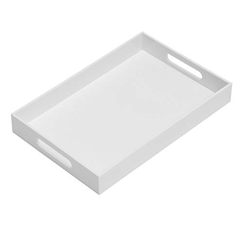 Glossy White Sturdy Acrylic Serving Tray with Handles-10x15Inch-Serving Coffee,Appetizer,Breakfast,Butler-Kitchen Countertop Tray-Makeup Drawer Organizer-Vanity Table Tray-Ottoman Tray-Decorative Tray