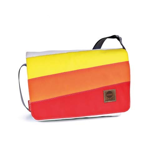 360° barcasse-mini schoudertas wit-rood-oranje-geel, riem grijs, zeildoektas