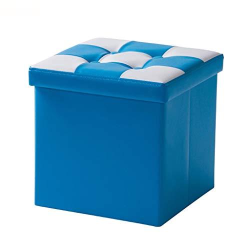 Ottoman Wddwarmhome Boîte de Rangement pour Tabouret de Rangement Pliable en PVC pour ménage (Couleur : Bleu)