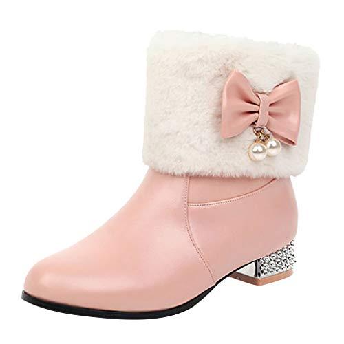 Stiefel Damen Westernabsatz Plüsch Kurzschaft Reißverschluss Stiefeletten mit Perlen Schleifen Winter Warme Damenschuhe Einzelne Schuhe (35 EU, Rosa)