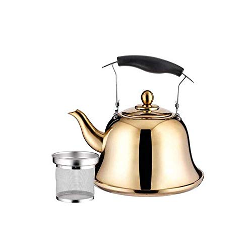 RTOPW Wählen Sie eine wunderschönen Teekanne - Glanzgold- praktisch (Kapazität: 1L, Farbe: Gold) - Pfeife meines schnellster siedender Spiegel eine 304 Edelstahl Teekanne abzuschließen