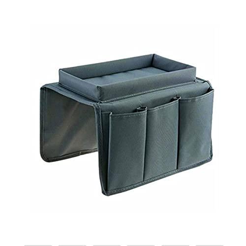 Tree-es-Life Organizador de reposabrazos de sofá con 4 Bolsillos y Bandeja de portavasos Sofá Sillón Bolsa de Almacenamiento Colgante para TV Control Remoto Teléfono Celular Gris