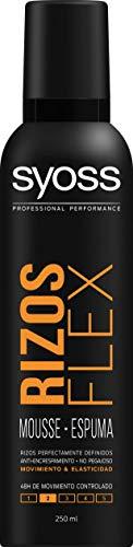 Syoss - Espuma Rizos Flex, 2uds de 250ml (500ml), Rizos Perfectamente Definidos Sin Encrespamiento, Ayuda a proteger el cabello del calor del secador, Cabello como recién salido de la peluquería