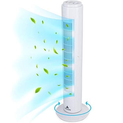 AERSON Turmventilator mit Ozillation 76 cm | Standventilator mit 3 Geschwindigkeitsstufen | Tower Fan - 45 W | Ventilator mit Timerfunktion | 70° oszillierend (Weiß)