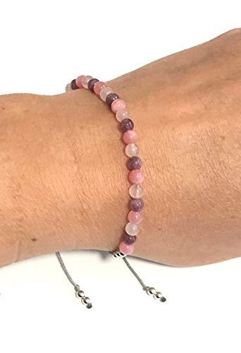 Karma Gems Lepidolite Rhodochrosite Rose Quartz Emotional Healing & Self Love Balance Bracelet - Adjustable