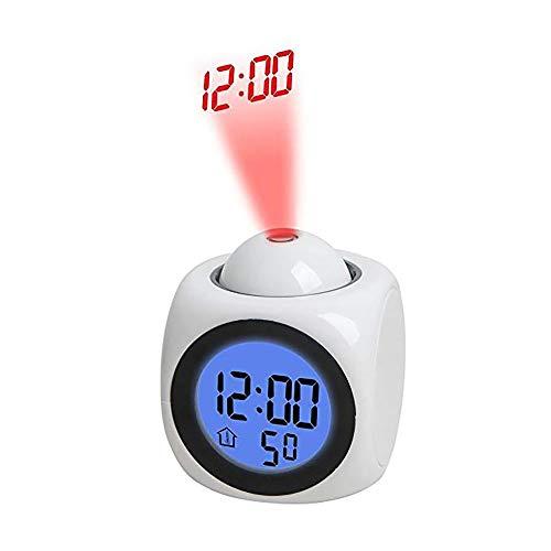 DXJ multifunctioneel projectieklok, led-projectiealarm, spraakberichthorloge, digitale wekker, reiswekker, snooze, 3 alarmgeluiden, natuurgeluiden