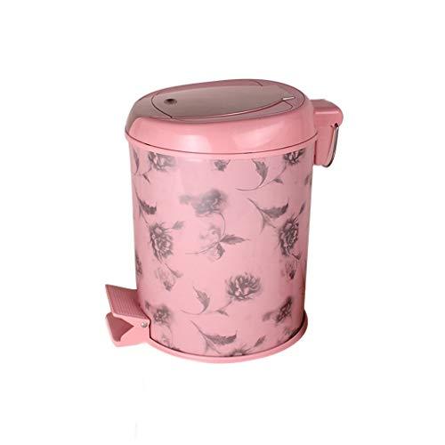 FFLSDR Fuß bedeckter Müll Mode kreativer Hausmüll Fuß Wohnzimmer Küche Schlafzimmer Büro Mülleimer Trash (Color : Pink, Size : 21x27x21cm)
