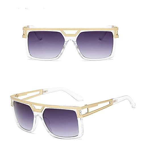 NIUBKLAS Gafas de sol cuadradas de piloto para hombre, gafas de sol de marca de lujo para hombre, gafas de sol de diseñador de Metal, espejos retro, AM18011-C3