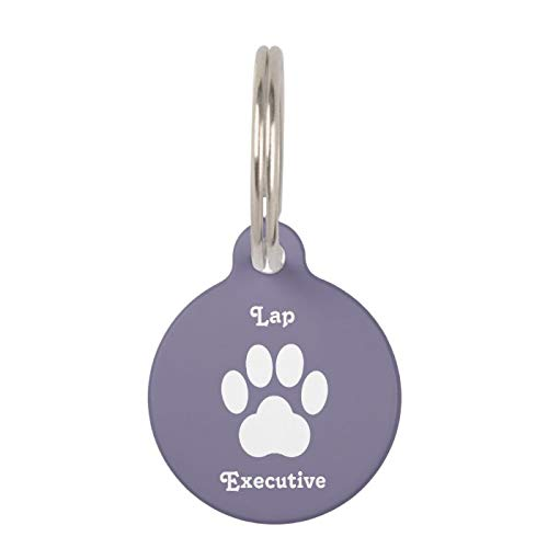 Stainless Steel Pet ID Tags, Dog Tags, Cat Tags, Smokey Purple Lap Executive Cat Tag for Dogs and Cats