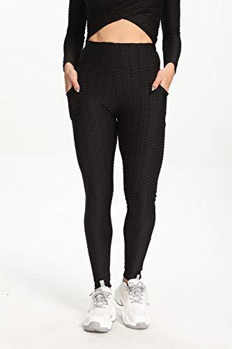 Famulily High Waist Yoga Pants - Yoga Pants with Pockets Tummy Control, 4 Ways Stretch Workout Running Yoga Leggings #2Black M