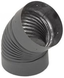 Copperfield 21140 6 Inch Heat-fab 22-ga Welded Black Stovepipe, 45 Deg Corrugated, Nonajustable Elbow