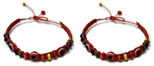 2 Bracelet ŒIL CHANCEUX charme de perle ethnique cordon ROUGE pour succès mode