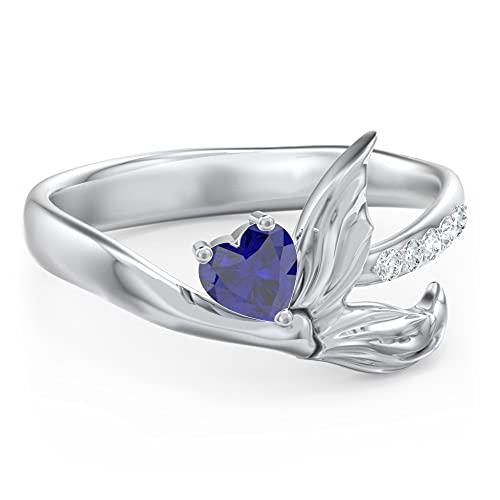 Anillo de compromiso de sirena con diamante de 4 mm en forma de corazón D/VVS1 para mujer, chapado en oro blanco de 14 quilates, plata 925