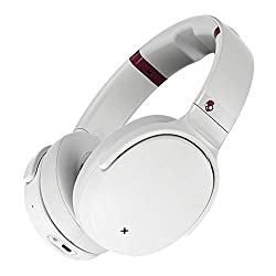 Over the Ear Bluetooth Wireless, Tile Integration, Rapid Charge 24-Hour Battery Life, Lightweight Premium Materials, White/Crimson