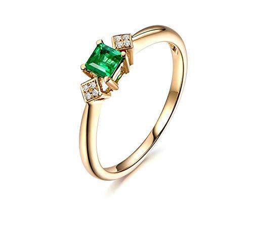 Ubestlove Verlobungsring In Gold 750 Mama Geschenk 60. Geburtstag Runder Eingelegter 0,28Ct Smaragd 0,03Ct Diamant Damenringe 45