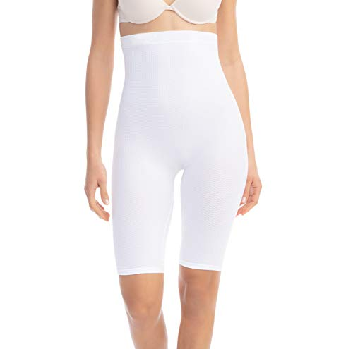 Farmacell 113 (Weiss, S/M) Shorts Hohe Taille, massierende und reduzierende Hose, Anti-Cellulite