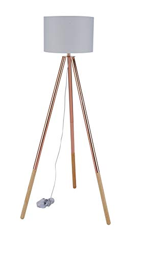 Sit Möbel This & That staande lamp frame Hevea en eiken, kap textiel L = 65 x B = 65 x H = 154 cm frame koperkleurig en natuur, kap lichtgrijs