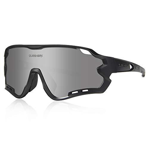 Polarizzati Occhiali Ciclismo con 4 Lenti Intercambiabili Occhiali Bici Occhiali Sportivi da Sole Anti UV da Uomo Donna per Corsa ,MTB (Argento Nero)