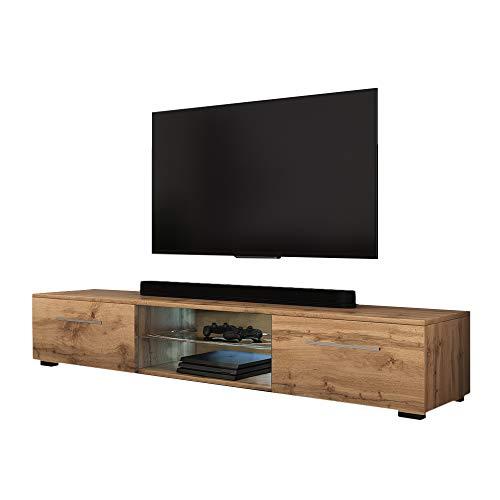 Selsey SYVIS - Mueble TV con LED/Mesa TV Moderna/Mueble para Salón Comedor / 140 cm (Marrón Dorado)