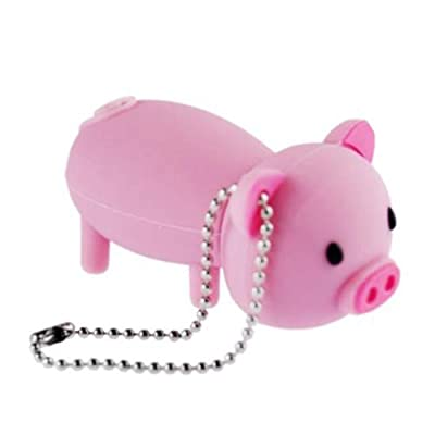 16GB USB Flash Drive Rubber Piggy Pig Shaped 16G Memory Stick USB 2.0 U Disk - Pink