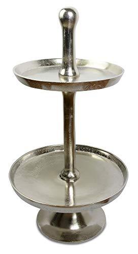 Riffelmacher Etagere 70123 - 2 Ebenen - Silber 65x35cm - Schönes mehrstöckiges Dekotablett Weihnachten Dekoration Herbst