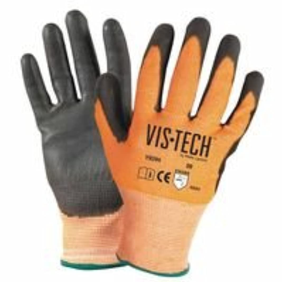 業界性交展開するvis-tech cut-resistant手袋ポリウレタンコーティングPalm、Large、オレンジ/ブラック, Sold as 1?DZ