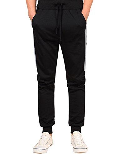 MISSKY Men Contrast Colour Fashion Fat Fit Plus Size Trousers Black XX Large