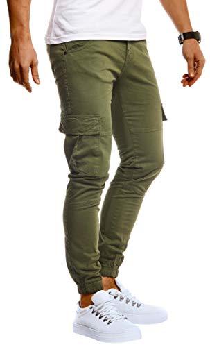 Leif Nelson Herren Hose Jeans Stretch Jeanshose Chino Cargo Chinohose Jogger Freizeithose Stretch Slim Fit LN9285; W34L32, Khaki