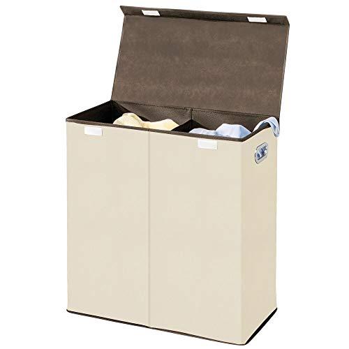 mDesign Wäschetruhe aus atmungsaktivem Polypropylen mit 2 Fächern – Design Wäschekorb für Bad/Schlafzimmer – faltbare Wäschetonne mit Deckel und Griff – cremefarben mit espressofarbener Zierleiste