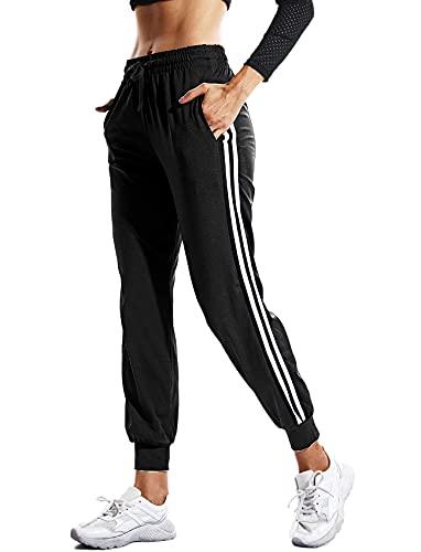 RIOJOY Womens Casual Athletic 2 Stripe Jogger Pants Drawstring Waist Sweatpants Tracksuit Bottoms with Pockets Black XL