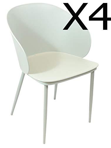 PEGANE Lot de 4 fauteuils en PP Coloris Vert - Dim : 55.5 x 55 x 80.5 cm