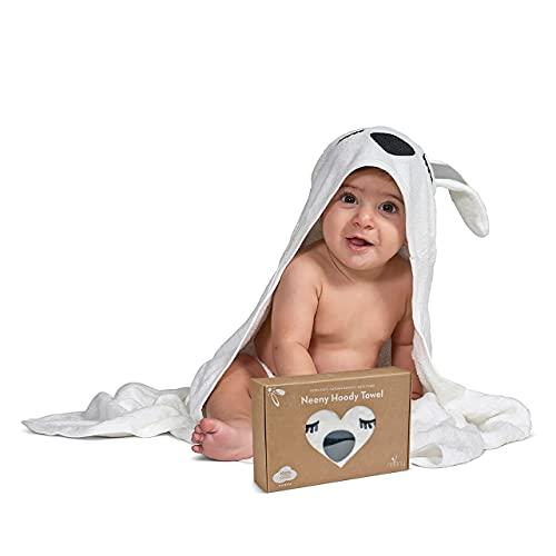 NEENY Asciugamano bambino con cappuccio ultra morbido 100% naturale cotone bambù accappatoio neonati e disegni di animali Super assorbente 90 x 90 cm per bambini e bambine. Salvietta GRATIS