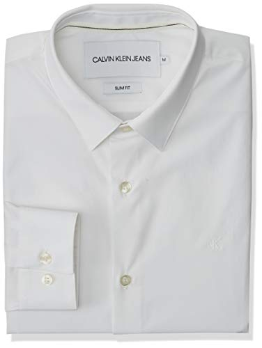Calvin Klein CK Chest Logo Slim Stretch Shirt Camicia, Bianco, XL Uomo