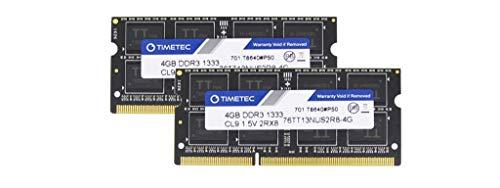 Timetec Hynix IC 8GB Kit (2x4GB) DDR3 1333MHz PC3-10600 Unbuffered Non-ECC 1.5V CL9 2Rx8 Dual Rank 204 Pin SODIMM Laptop / Notizbuch Arbeitsspeicher Module Upgrade (8GB Kit (2x4GB))
