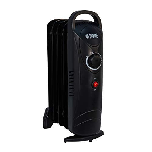 Russell Hobbs 5 Fin Oil Filled Radiator - Small Compact Electric Portable Heater, Adjustable Temperature & Overheat Protection, Black, 650W, RHOFR3001B