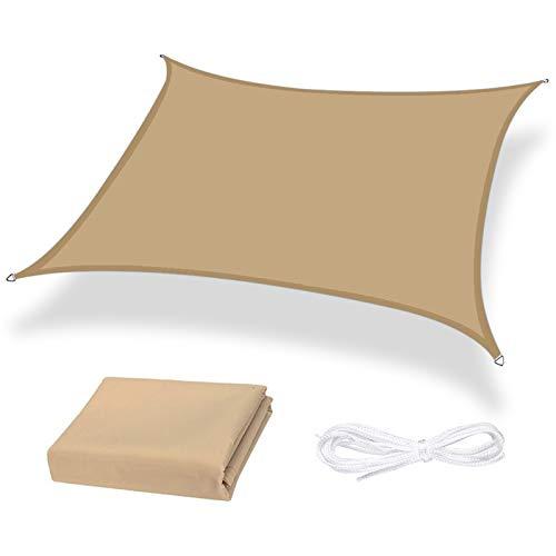 Moboo Toldo parasol para balcón, protección contra la intemperie, impermeable, resistente al viento, PES 420D, 96 % de protección UV para jardín, exterior, cuadrado, rectangular, arena.