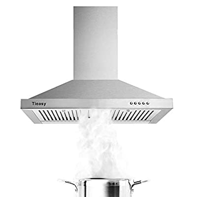 Range Hood, Range Hoods 30 inch Stainless Steel, 450 CFM Kitchen Hood with LED Light Baffle Filters, 3 Speed Exhaust Fan, Tieasy