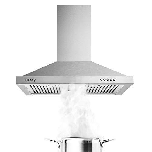 Campana Rango, Campanas de 30 pulgadas, acero inoxidable, 450 CFM Campana de cocina con filtros LED para deflectores, ventilador de escape de 3 velocidades, Tieasy