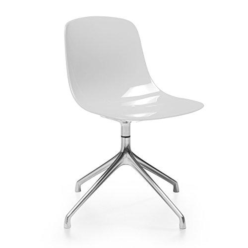 Pure-Loop Stuhl mit Sternfuß, weiß durchgefärbt Gestell Aluminium