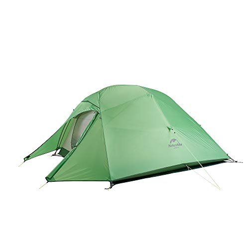 Naturehike Cloud Up Double Layer 3 Person Tent Lightweight Camping Hiking Backpacking Tent (green-210T Polyester)