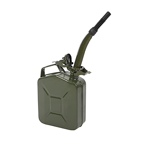 Durable Oil Barrel; 0.6mm Metal & Plastic Made Fuel Tank Fluid Systems Oil Jug Oil Dispenser with Inverted Oil Pipe; Used for Fuel; 5L Capacity; Army Green - Exquisite Craftsmanship