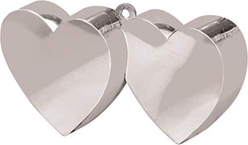 Amscan zilver dubbel hart ballon gewicht 170g/6oz