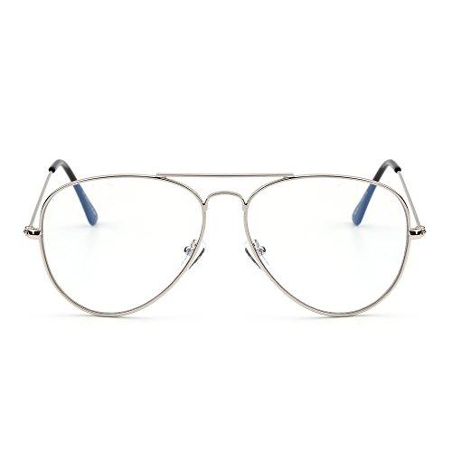 JIM HALO Occhiali da Lettura Computer Blocco Luce Blu Retro Aviatore Stile Ridurre l'Affaticamento Degli Occhi Anti Glare Occhiali da Vista Donna con Lenti Trasparenti (Argento/Trasparente)