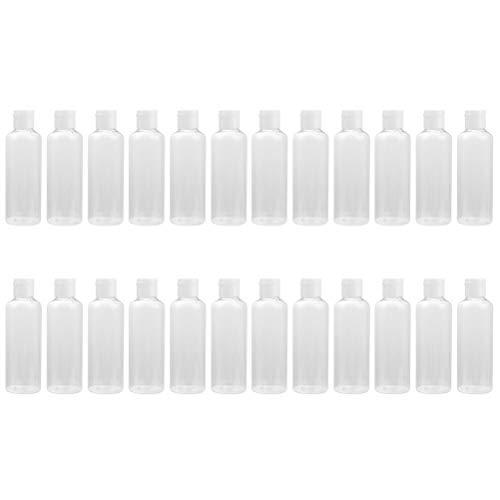 Solustre 24 Piezas Botellas de Viaje Botellas Plásticas de Cosméticos Botellas de Loción con Tapa Abatible Botellas de Tóner Transparente Envase de Artículos de Tocador - 50 Ml