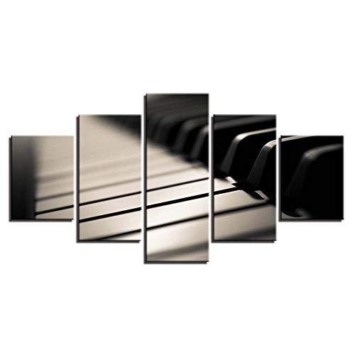 LWJPD Cuadro en Lienzo 5 Partes Lienzo Pintura Pared Artista Decoración del Hogar Instrumento Musical En Blanco Y Negro Piano Sala De Estar Imágenes Impresas HD Modernas Sin Marco 60 Inch