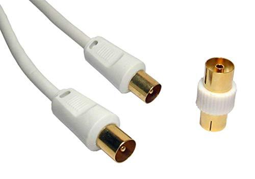 petit un compact World of Data Câble coaxial 10 m – Haute qualité – Fiche plaquée or 24 carats – Entièrement formé -…