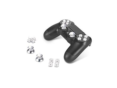 Supremery Alu Buttons für Playstation 4 Dualshock Controller Aluminium Buttons Kappen Thumbsticks Ersatzteile Zubehör für PS4 (Bullet Silber)