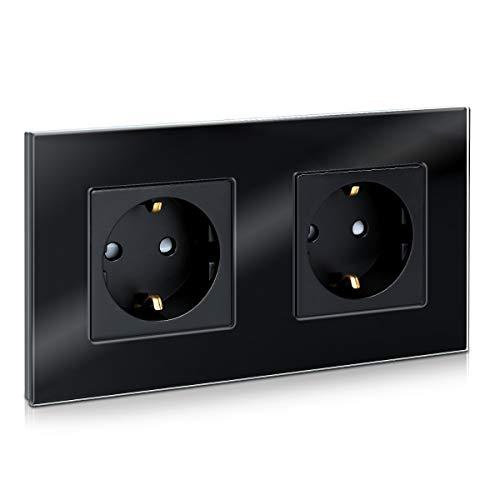 Navaris Glas Schuko Steckdose zweifach - mit Montagematerial - Design Schutzkontakt Wandsteckdose mit Glasrahmen - Doppelsteckdose in Schwarz