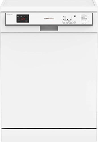 Sharp QW-HY26F39DW-DE Freistehender Geschirrspüler / 60 cm / D / 15 Maßgedecke mit Besteckschublade / 9 Programme mit Dampf-Funktion / Weiß